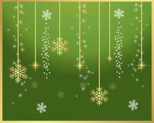 Green and gold snowflakes background