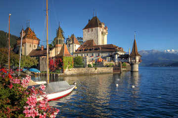 Oberhofen Castle on Lake Thun, Switzerland