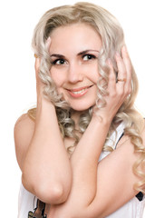 Portrait of smiling young blonde. Isolated