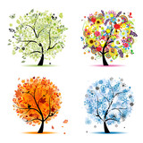 Fototapety Four seasons - spring, summer, autumn, winter. Art trees