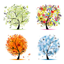 Quatre saisons - printemps, été, automne, hiver. Art trees
