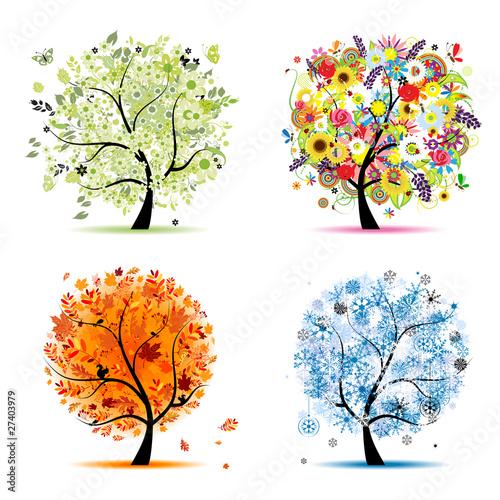 Fototapeta Four seasons - spring, summer, autumn, winter. Art trees
