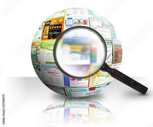 Leinwanddruck Bild Internet Website Search 3D Ball