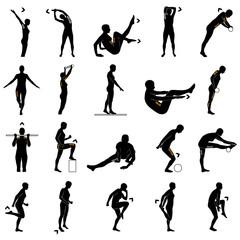 Fitnessübungen Silhouetten