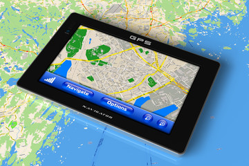 GPS navigator on map