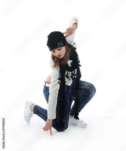 Young woman dancing hip-hop