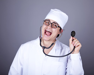 Crazy doctor with a stethoscope.