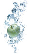 Apple in spray of water.