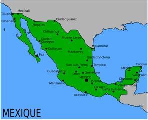 Carte des Villes Principales du Mexique