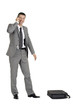 businessman with mobile phone and case