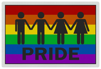 'Gay Pride' - photo realistic sign, isolated on white