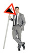"""businessman with road sign"