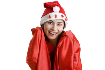 woman with santa claus hat
