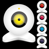 Set of white webcams with bright lights, part 2, vector