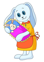 Rabbit-mother with the child