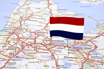 Map from the Netherlands with the dutch flag
