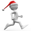 3D human running with a Santa Claus hat