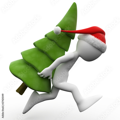 3D human running with a Christmas tree