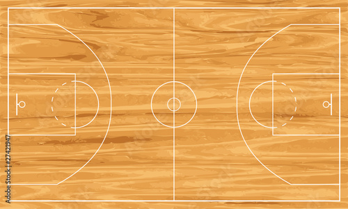 wooden basketball court - 27421947