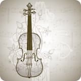 Fototapety violin, music sheets & vintage floral ornament