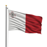 Flag of Malta waving in the wind in front of white background