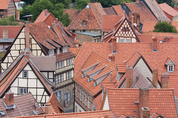 Aerial view at the German medieval city Quedlinburg