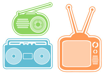 tv, radio and tape recorder icons