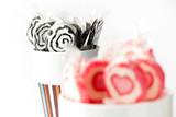 Blak and pink lollipops