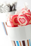 Pink and black lollipops