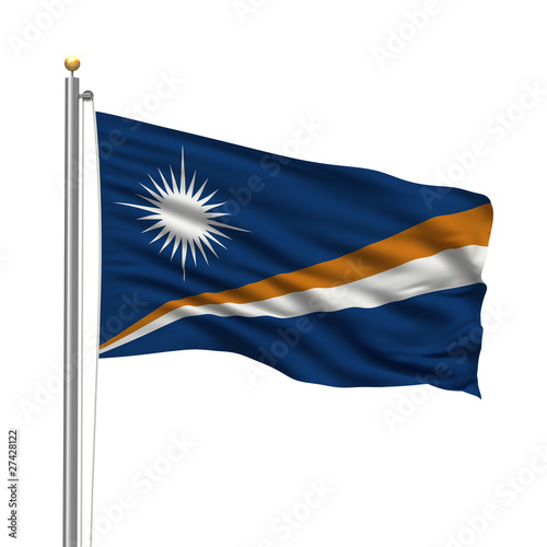 Flag of the Marshall Islands waving in the wind over white