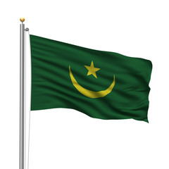 Flag of Mauritania waving in the wind in front of white