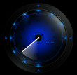 Tachometer blue  isolated on black 3D render