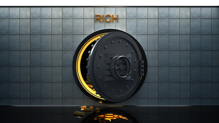 The big safe with Gold ingots 3D render