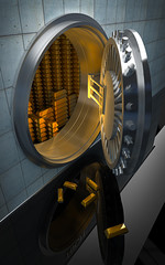 Big safe with Gold ingots 3D render
