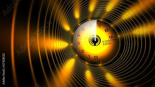 Tachometer orange abstract 3D render