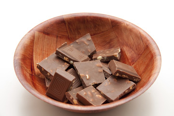 Nußschokolade in Schüssel