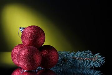 christmas balls and Pine branch