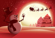 Snowman Waving To Santa Red Version