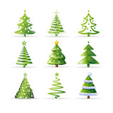 Fototapety Christmas tree set