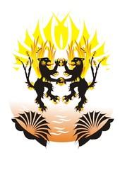 Fiery lions at orange water