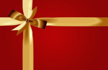 Geschenkband, gold, rot
