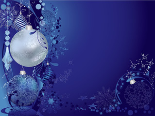 Christmas blue background with baubles.