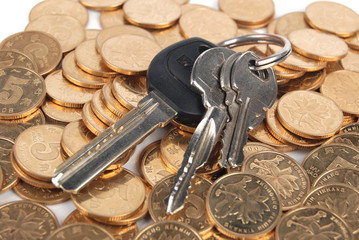 Key and coins