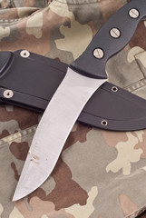 Military Combat Knife on BDU