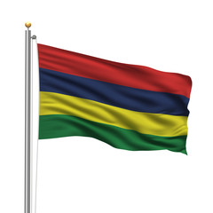 Flag of Mauritius waving in the wind in front of white