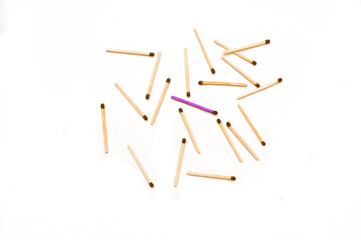 isolated matches on a white background