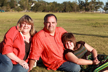 Family in an outdoor lifestyle pose