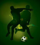Football players with a soccer ball