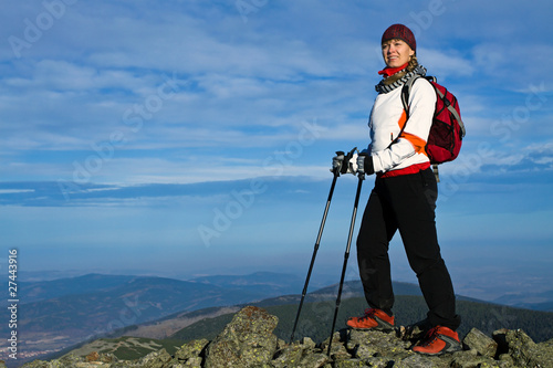 Nordic Walking in mountains, hiking women
