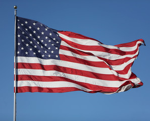 United States Flag blowing in the wind